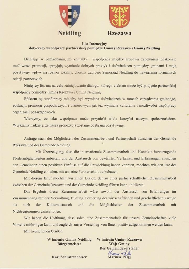 List intecyjny pomiedzy Gminą Rzezawa aGminą Neidling-1